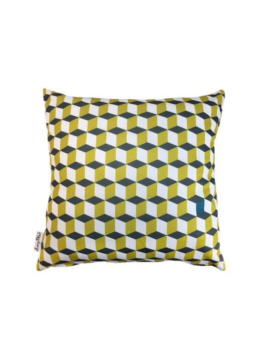 "Cushion cover ""La 3D du tournesol"" recto"